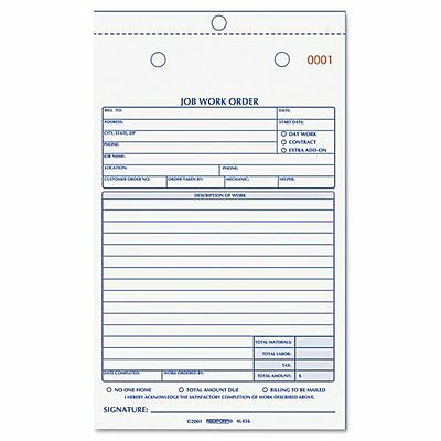 REDIFORM Job Work Order Book 5 1/2 x 8 1/2 Two Part 50/Book Each