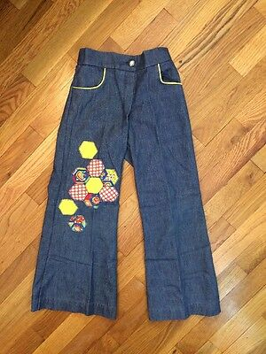 Vintage Chocolate Soup Flower patchwork Toddler Unisex 70s Flare Jeans