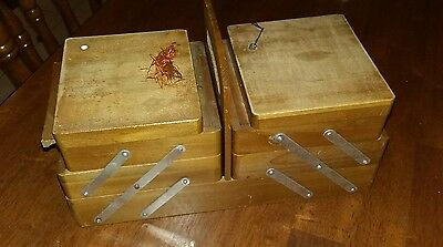 small vintage cantilevered wooden sewing box