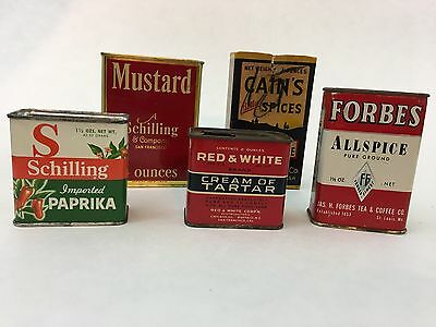 Vintage Spice Cans And Box Lot Of 5