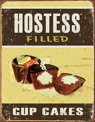 Tin Sign Vintage Advertising HOSTESS FILLED CUP CAKES Sweet Cakes Twinkies #1449
