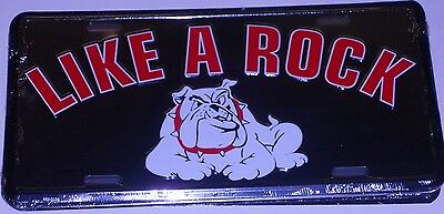 Like A Rock  With Bulldog Chevrolet Aluminum License Plate Chevy Truck Made Usa