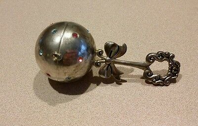 Lenox Baby Rattle Picture Frame Locket Ball Shaker Silverplate Pink Blue