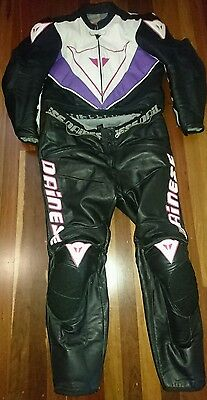 Dainese womens 2 piece leather suit sz 56 lge