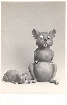 RPPC EARLY WOODEN CARVING of a CAT & MOUSE circa.1920s FINE CONDITION