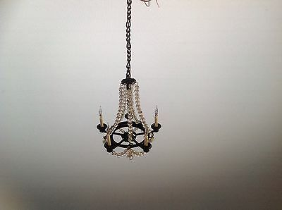 Dollhouse Miniature Handcrafted Crystal Chandelier with Black Frame 12V 1:12