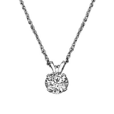0.73 CT D/VS2 New Solitaire Round Cut Enhanced Diamond Pendant 18ct White Gold