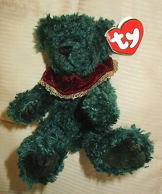 "1993 TY Attic Treasures Green LAUREL Happy Holly-days! Jointed Teddy Bear,9"",NWT"