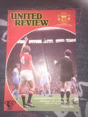 Man Utd V Coventry League Cup 27th August 1980