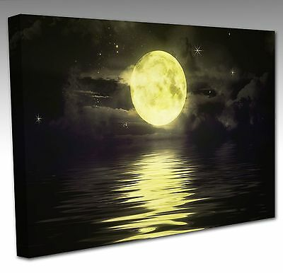 Large 30x20 Inch YELLOW GIANT MOON WATER Framed Canvas Wall Art Picture Print