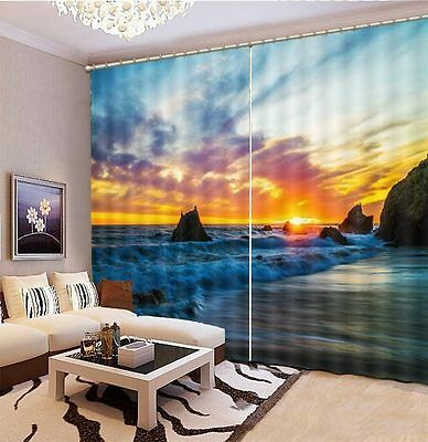 Beach Sunset Island Sand 3D Blockout Photo Printing Curtains Draps Fabric Window