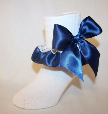 Girls White Stretch Cotton Socks with Navy Blue Satin Ribbon and Bows Bailey