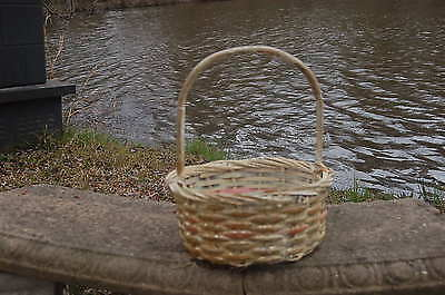 Antique Vintage Woven Wicker Easter Basket W/ Bamboo Handle