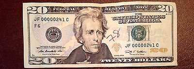 United States USA $20 Dollar Low Serial Number Banknote
