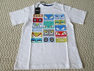 NWT Auth Fendi Boy's Monster Faces Logo Graphic White Tee Shirt Top Sz 5 $158