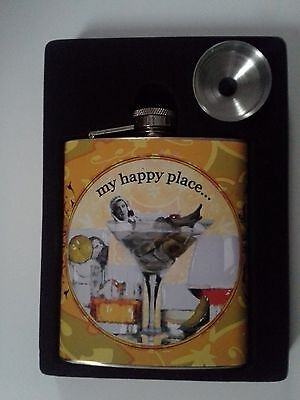 """Alumium Flask """"My Happy Place . . . """" with Funnel (Never used)"""