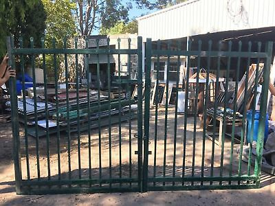 Commercial Quality Green Gates 1715w X 2100h Each X2 To Suit Opening 3.5m