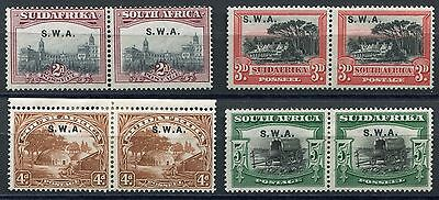 South West Africa 1927 - SG60, 61, 62, 66 in pairs