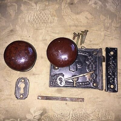 Antique B L W Victorian Civil War Era Rim Lock & Skeleton Key & Doorknobs
