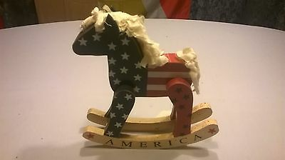 """Patriotic Rocking Horse 9"""" Tall x 8"""" Wide"""