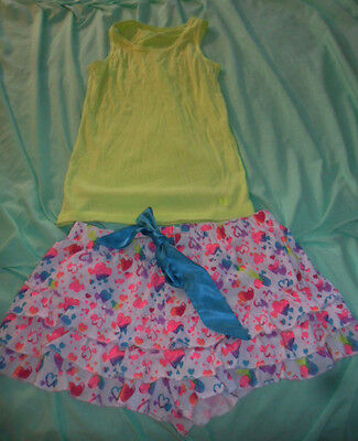 Justice Cute Rainbow Heart Sleep Shorts and Neon Yellow Tank Top Size 16/18