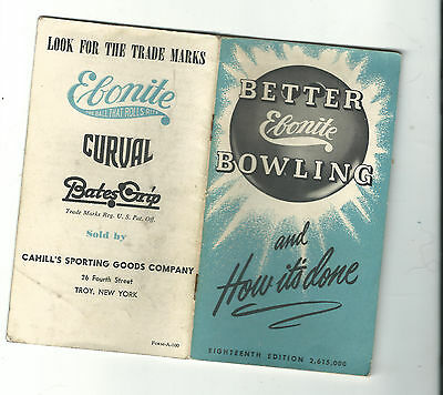 Ebonite Curval Ball Advertising Booklet  Better Bowling Cahill's Troy N Y