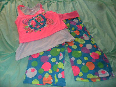 Justice Nice Peace and Polka Dot Pajamas Size 16/18 Great for Spring & Summer
