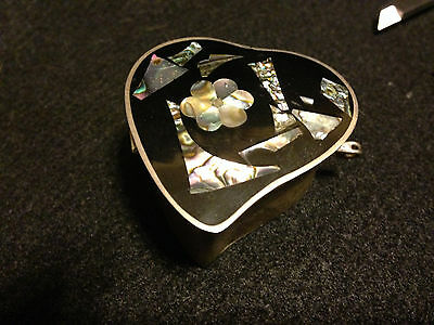 Antique Alpaca Mexico silver trinket  box WITH Albalone sheel lid,nice & intact