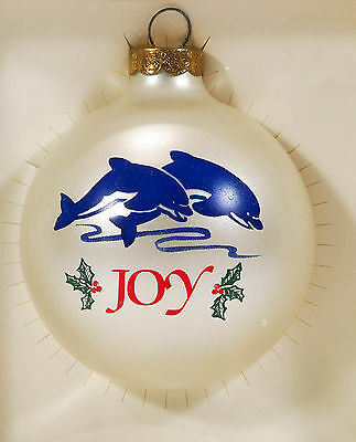 Topperscot DOLPHINS Sea Animals JOY Christmas Glass Ornament in Box Made in USA