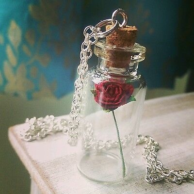 Beauty And The Beast Enchanted Rose Bottle Necklace Tale as Old as Time inspired