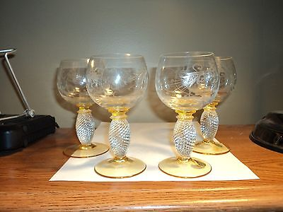 4 Theresienthal Pieroth Romer Wine Glasses Etched 5'' H