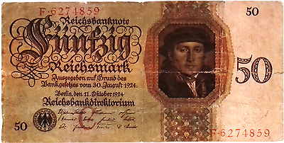 1924 Germany 50 Reichsmark  Banknote / 50 trillion in equivalent
