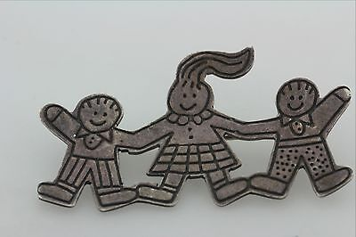 Sterling Silver Made in Mexico 925 Signed EFS Cartoon Children Boy Girl Pin