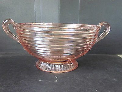 Vtg PINK Depression Era Centerpiece Bowl Applied Handles Pressed Glass Pedestal
