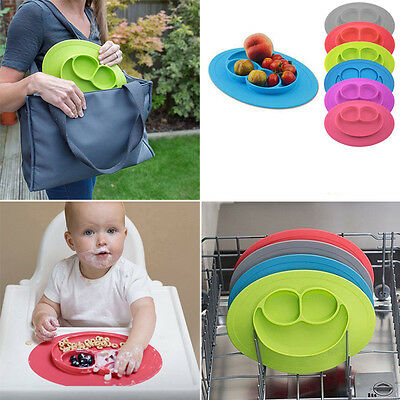 Toddler Children Baby Divided Bowl One-Piece Silicone Placemat Food Mat Feeding