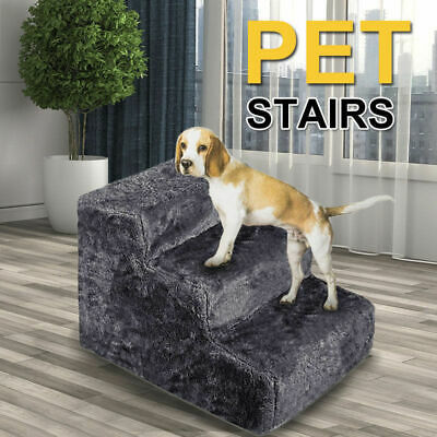 3 Steps Portable Pet Soft Plush Ladder Dog Cat Stairs Ramp Washable Cover AU