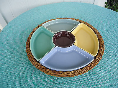 vintage retro 5 section harlequin dip party snack cane tray serving platter