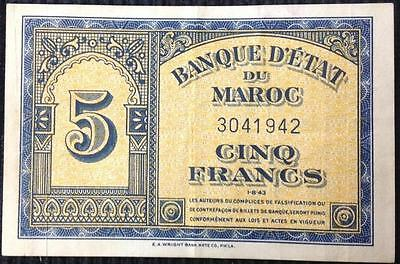 Morocco 5 Francs 1-8-43 Allied WW2 Liberation Issue