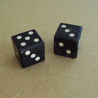Black Hand Crafted Cow Horn Pair Of Dice With White Horn Inlaid Dots