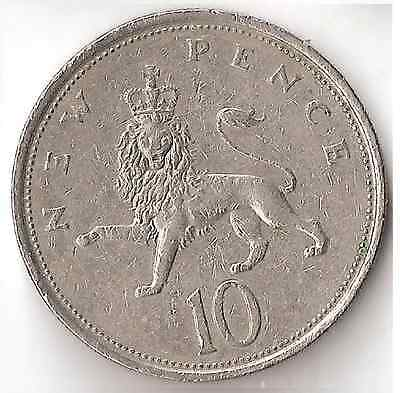 1976 UK 10 Pence Coin Great Britain England Queen Elizabeth New Pence