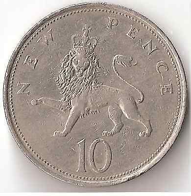 1970 UK 10 New Pence Coin England Great Britain Queen Elizabeth Lion 9.7.16
