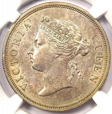 1886 Straits Settlements Victoria 50 Cents 50C - NGC AU58 - Rare Certified Coin