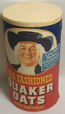 Vtg Quaker Oats Card Board Container Canister Advertising Old Fashioned Primitav