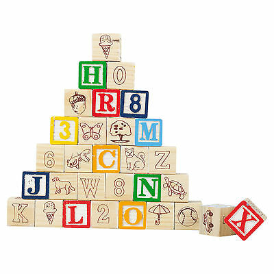 Wooden Cubes Numbers Letters Child Kids Educational Toy Game Playset Alphabet