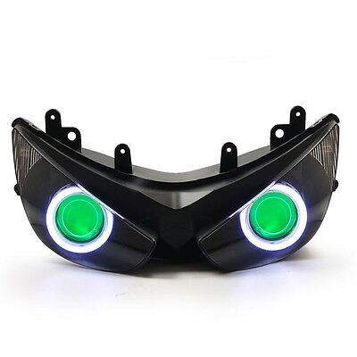 KT LED Angel Eye Headlight Assembly for Kawasaki Ninja ZX-6R 2005-2006 Green Kit