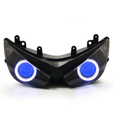KT LED Angel Demon Eye Headlight Assembly for Kawasaki Ninja ZX-6R 2005-2006Blue
