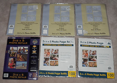 NEW 6 Packages 3.5 x 5 Photo Page Refills - 10 Sheets (Hold 100 Photos) Per Pack