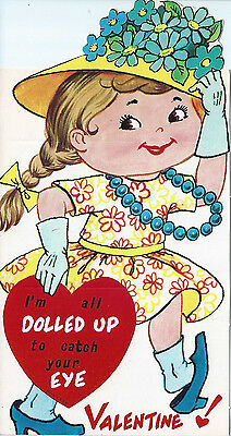 Vintage Valentine's Day Greeting Card: large size, young girl playing dress