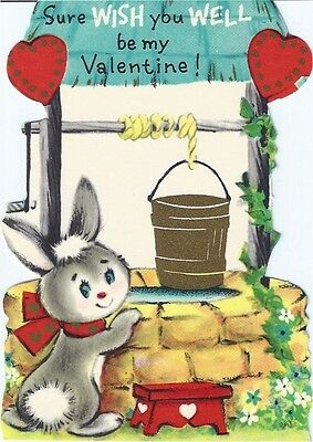 Vintage Valentine's Day Greeting Card: bunny rabbit at wishing well