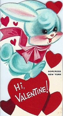 Vintage Norcross Valentine's Day Greeting Card: blue hopping bunny rabbit